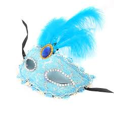 teal masquerade masks party plumage mask lace diamond feather masquerade