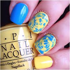 amazing circle design wirth yellow and blue nails picsmine