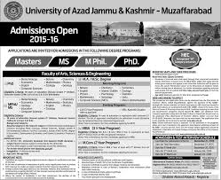 M S University by Ajk University Muzaffarabad Ms Mphil Phd Masters Admissions 2016 17
