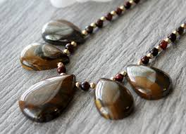 natural stone beaded necklace images Tigers eye bib necklace 14k gold filled brown stone statement jpg