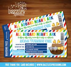 Noah S Ark Decorations Printable Noah U0027s Ark Ticket Birthday Invitation Kids 1st Or 2nd