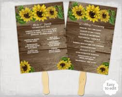 sunflower wedding programs sunflower fan wedding program etsy