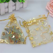 gold gift bags 100pcs lot 13x18cm gold gift bags with heart jewelry pouches