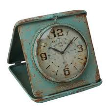 shabby chic old fashioned antique turquoise rust finish mantel clock