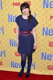 zooey deschanel u0027s blue patterned skirt and denim jacket for she