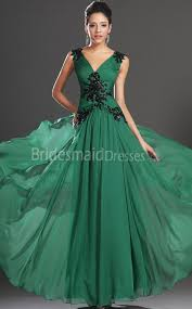 a line jade chiffon v neck floor length with appliques bridesmaid