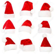 set of santa hats isolated over white background stock photo
