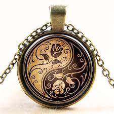 aliexpress yang rose yin yang tai chi time gem pendant necklace sweater chain