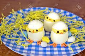 easter deviled egg plate easter deviled egg on blue and white checkered plate stock