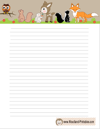 printable animal lined paper woodland creatures writing paper free printables pinterest