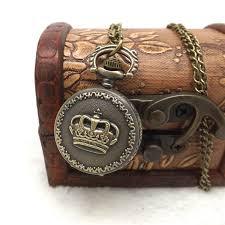 vintage necklace pocket watch images Hot vintage retro bronze quartz pocket watch pendant chain men jpg
