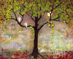 moon river tree owls painting by blenda studio
