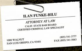 Business Cards Attorney Ilan Funke Bilu Attorney At Law California State Bar Certified