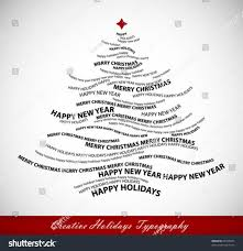 christmas tree shape words typographic composition stock vector