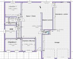 plan de maison 100m2 3 chambres plan maison plain pied 3 chambres rectangulaire