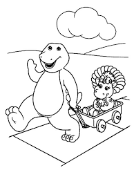 barney baby bop playing cart barney friends coloring