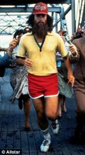 Black Dynamite Halloween Costume Felt Running Marathon Man Crosses Finish