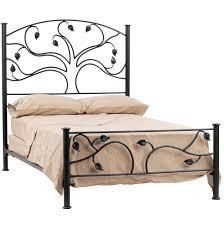 leaves pattern black polished iron double size bed frame using