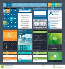 application ui design set of flat design ui elements for mobile app and stock vector