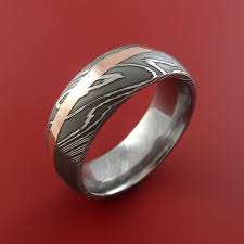 damascus steel wedding band damascus steel and copper ring wedding band custom made
