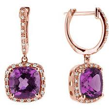 purple drop earrings cushion cut amethyst diamond dangle drop earrings 14k gold
