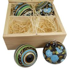 hand painted christmas glass ornaments four in a wooden box blue