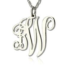 monogram necklace silver personalized 2 initial monogram necklace sterling silver