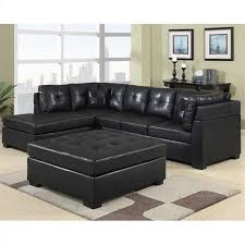 Left Facing Sectional Sofa Bowery Hill Leather Left Facing Sectional Sofa In Black Walmart Com