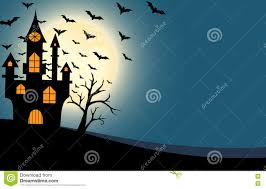 halloween night background halloween castle and bats full moon night background stock vector