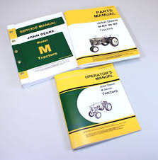 set john deere m tractor service parts owner manual technical