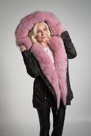 selina winter coat in camo with custom dyed lush pink fox fur