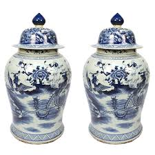 white ginger jar pair of blue and white ginger jar with phoenix and peonies at 1stdibs