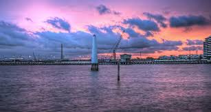 sunset colorful sunsets lights view waterfront clouds sky