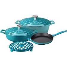 cast iron enamel cookware la cuisine 6 piece enameled cast iron cookware set with saute