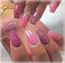 pink and pink glitter acrylic mix nail art gallery