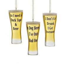 club pack of 12 beer glasses with humurous quotes christmas