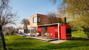 design marvelous eye catching red painted houses made from