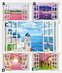 home decor 3d stickers natural scenery 3d window decal home decor mediterranean sea wall