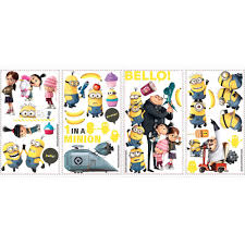 despicable 2 peel and stick wall decals walmart com