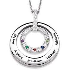 Necklace With Children S Names Kids Names Birthstone Necklace Sterling Silver Mothers Necklace