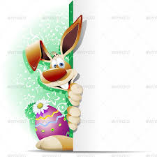easter bunny cartoon with white panel by bluedarkat graphicriver