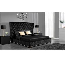 king upholstered headboard with nailhead trim avenue greene luxe premium velvet upholstered bed queen black