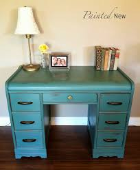art deco waterfall desk by paintednew painted in custom chalk