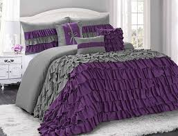 California King Size Comforter Sets Amazon Com 7 Piece Brise Double Color Ruffled Comforter Set Queen