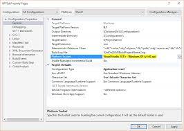 how to target windows xp in microsoft visual studio c stack