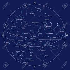 Sky Maps Sky Map And Constellations With Titles Vector Royalty Free