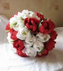 wedding flowers tulips and white paper tulips wedding bouquet paper flower