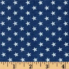 Red White Flag With Blue Star Telio Stretch Printed Denim White Stars Medium Blue Discount