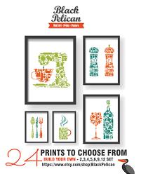 Teal Kitchen Decor by Orange Teal Green 5 Set Kitchen Icons Unique Kitchen Decor