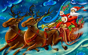 santa claus sleigh reindeer moon wallpaperspics